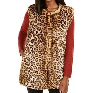 New Inc Faux Fur Vest Duster (size L/XL)